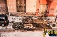 Tres contenedores acabaron esta noche calcinados por el fuego